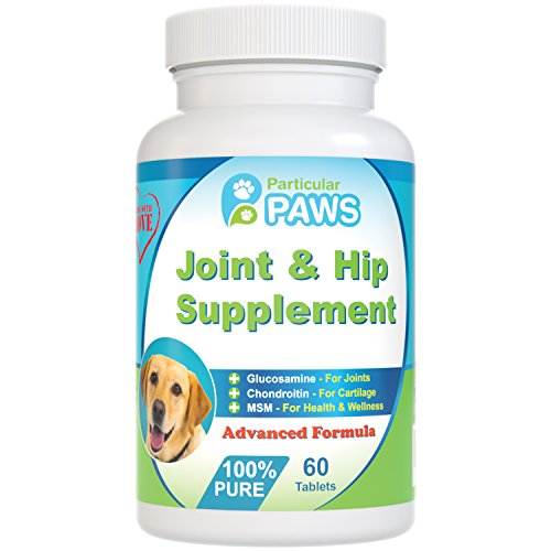 Glucosamine for Dogs Advanced Joint & Hip Supplement with MSM, Chondroitin, Vitamin C & E, Hyaluronic Acid, Omega 3 & Omega 6 – 60 Chewable Tablets