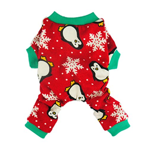 Fitwarm Cute Penguin Xmas Pet Clothes for Dog Pajamas Soft Christmas PJS, Red, Small