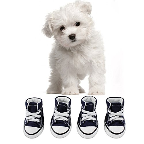 abcGoodefg Cute Puppy Pet Dog Sporty Shoes Lace up Blue Canvas Dog Boots Nonslip Dog Booties Sneaker for Chihuahua Yorkie Small Doggies – 4 Pcs in One Pack