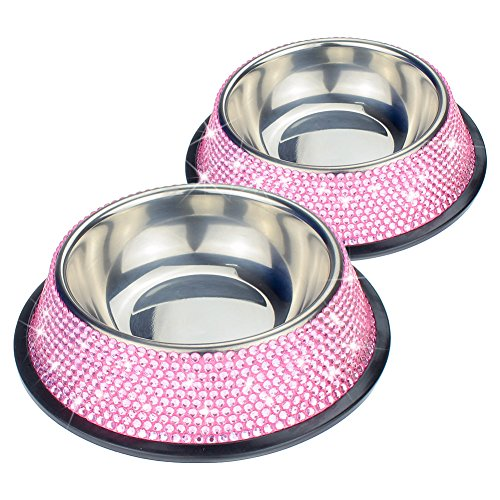 SAVORI 10 Rows Handmade Sparkling Rhinestones Stable Cute Dog Bowl 200ml/3 Ounce Stainless Steel Pet Bowl Food Water Bowl for Puppies Small Dogs Cats Set of 2 (Pink)
