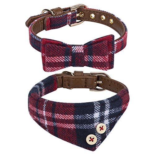 Puppy Collars for Small Dogs – StrawberryEC Adjustable Puppy Id Buckle Collar Leather. Cute Plaid Red Bandana Dog Collar